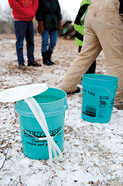 Five-gallon buckets are used for sap collection so park staff only has to collect the buckets once a day. It takes 40 to 50 gallons of sap to make one gallon of syrup.